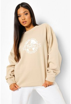 Sand Petite Earth Print Oversized Sweatshirt