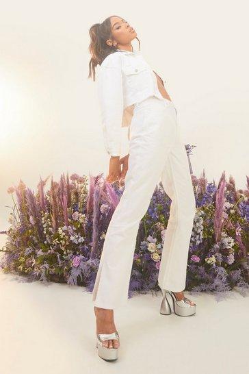 White Petite Side Split Flared Jeans