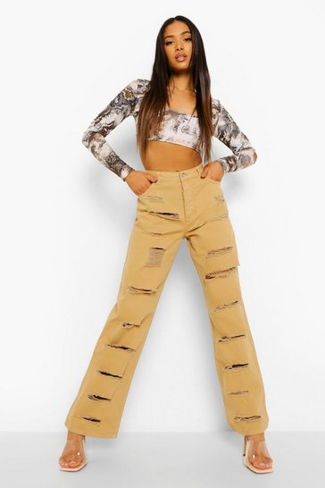 Tan brown Petite Extreme Distressing Straight Leg Jean