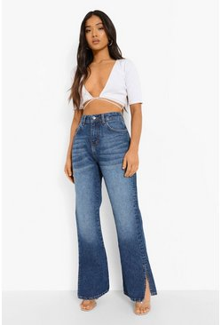Mid blue Petite Side Split Flared Jean