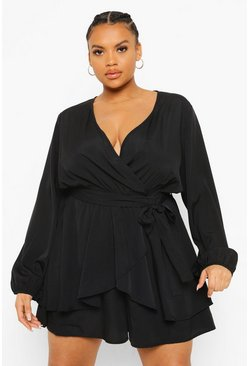 Plus Wrap Front Frill Long Sleeve Playsuit, Black negro