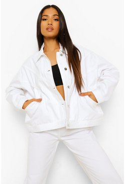 Ecru white Petite Seam Detail Oversized Denim Jacket