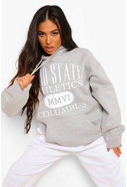 "Grey marl grå Petite - ""Ohio State"" Oversize hoodie med tryck"