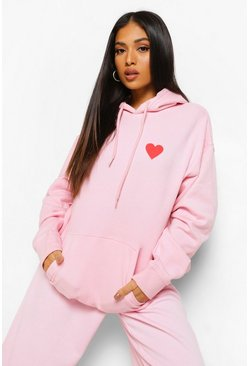 Light pink pink Petite Heart Print Pocket Oversized Hoody