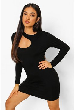 Black Petite Cut Out Detail Mini Dress