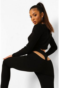 Black Petite Cut Out Detail Legging