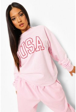 Light pink pink Petite USA Slogan Printed Oversized Sweatshir