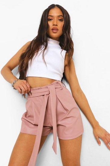 Blush pink Petite Tie Front Pu Shorts