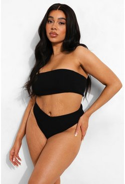 Black Plus Mix & Match Crinkle High Leg Brief