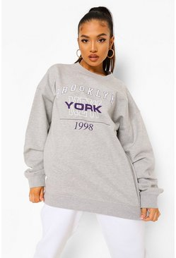 Grey Petite Brooklyn Oversized Sweat, Серый меланж Серый