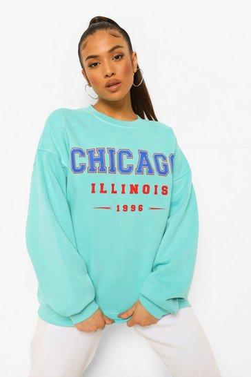 Aqua blue Blue Petite Chicago Overdyed Oversized Sweatshirt