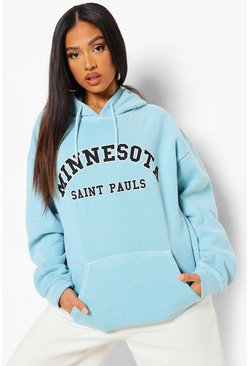 Mint green Petite Minnesota Slogan Overdyed Hoody
