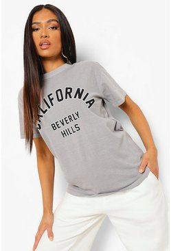 Grey Petite California Slogan Overdyed T-Shirt, Grey marl gris