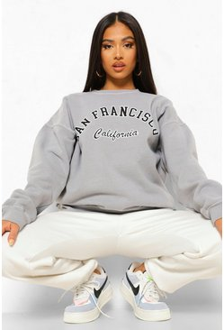 Grey Petite California Slogan Over Dye Sweat
