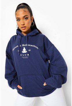 Navy Petite Sports Club Oversized Hoody