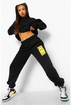 Black Petite Happy Print Tracksuit
