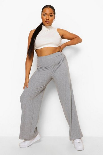 Grey marl grey Plus Rib Wide Leg Trousers