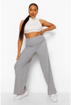 Grey marl grey Plus Geribbelde Wide Leg Broek