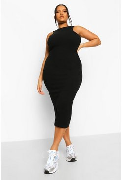 Plus Rib Racer Front Midi Bodycon Dress, Black nero