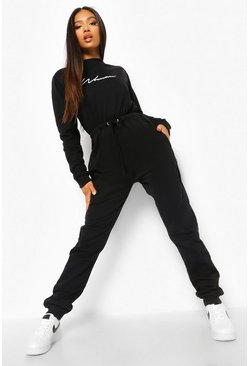 Black Petite Woman Script Loopback Jumpsuit