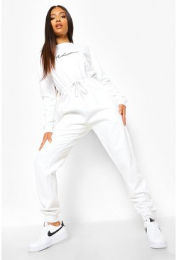 White Petite Woman Script Loopback Jumpsuit