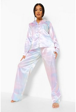 Multi Petite Satin 3 Piece Scrunchie Trouser Pj Set
