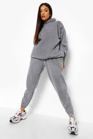 Charcoal grey Petite Acid Wash Hoody And Jogger Tracksuit