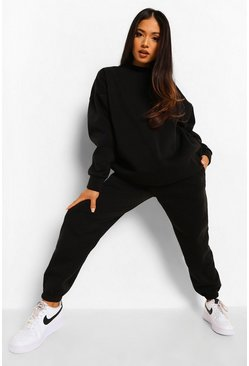 Black Petite Basic Sweatshirt And Jogger Tracksuit