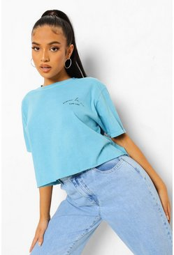 Aqua blue Petite Slogan Acid Wash Cropped T-shirt