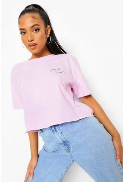 Hot pink Petite Slogan Acid Wash Cropped T-shirt