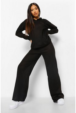 Black Petite Ribbed Knitted Lounge Set