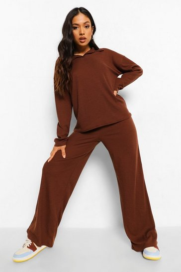 Chocolate brown Petite Ribbed Knitted Lounge Set