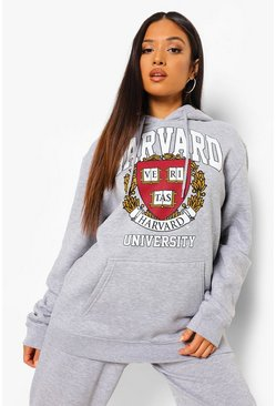 סלע אפור Grey Petite Harvard Licensed Hoody
