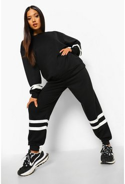 Black Petite Stripe Sweat Jogger Co-ord