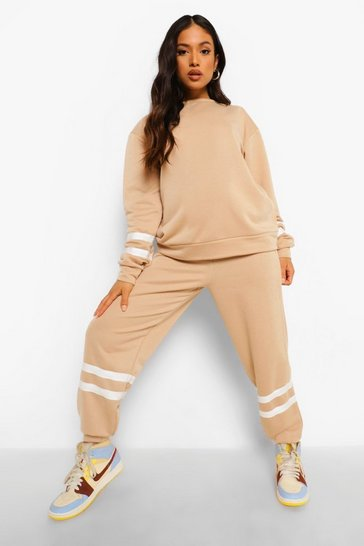 Stone beige Petite Stripe Sweat Jogger Co-ord