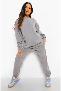 Charcoal Petite Acid Wash Sweater And Jogger Tracksuit