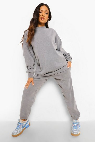 Charcoal grey Petite Acid Wash Sweater And Jogger Tracksuit