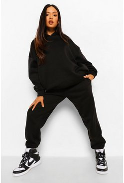 Black Petite Basic Hoody And Jogger Tracksuit
