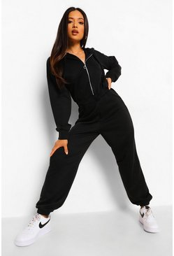 Black Petite Corset Detail Hooded Sweat Jumpsuit
