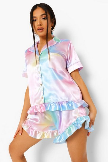 Multi Petite Pastel Frill Pj Short Set