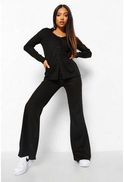 Black Petite Soft Knit Button Down Lounge Set