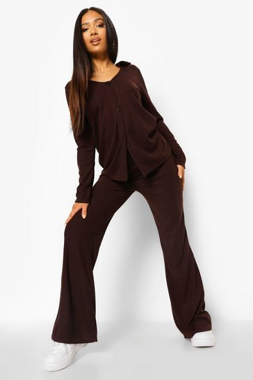 Chocolate brown Petite Soft Knit Button Down Lounge Set