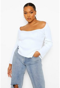 White Plus Knitted Square Neck Split Top