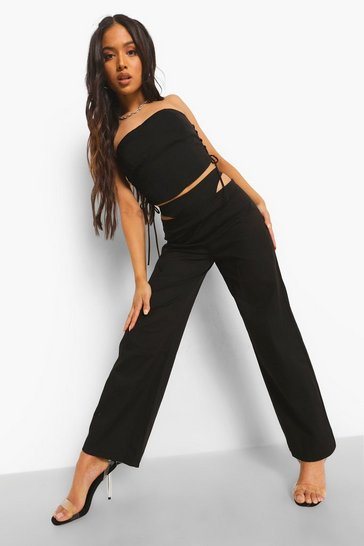 Black Petite Cut Out Detail Trousers