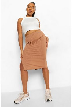 Stone beige Plus Split Midi Skirt