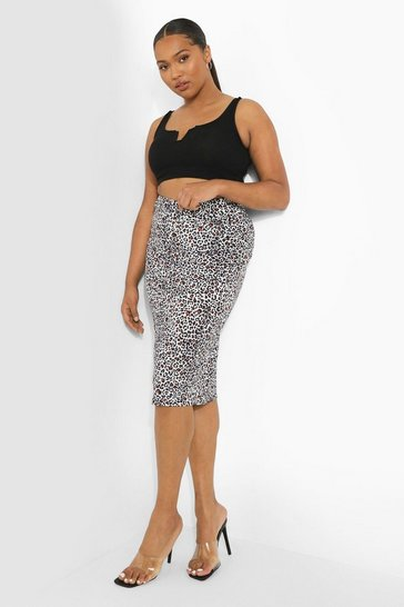 Plus Rib Leopard Midi Skirt