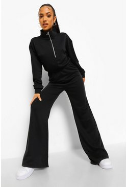 Black Petite Zip Up Sweat Loopback Jumpsuit