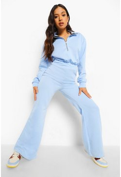 Blue Petite Zip Up Sweat Loopback Jumpsuit