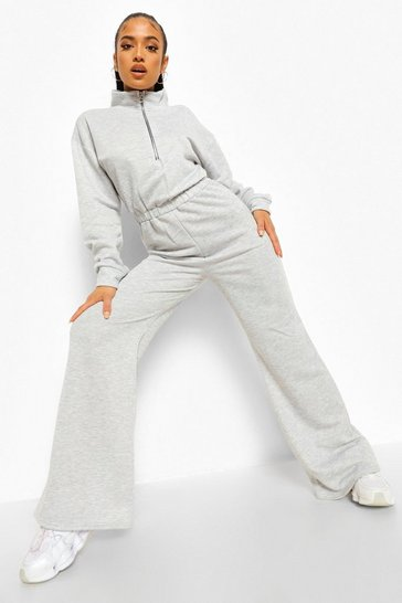 Grey marl grey Petite Zip Up Sweat Loopback Jumpsuit