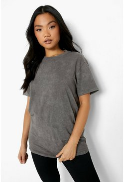 Charcoal grey Petite Acid Wash Oversized T-shirt